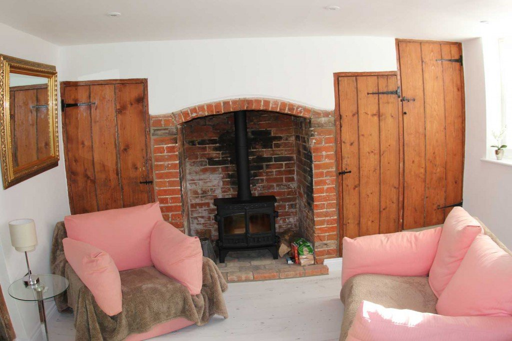 Angel Lane renovated lounge fireplace