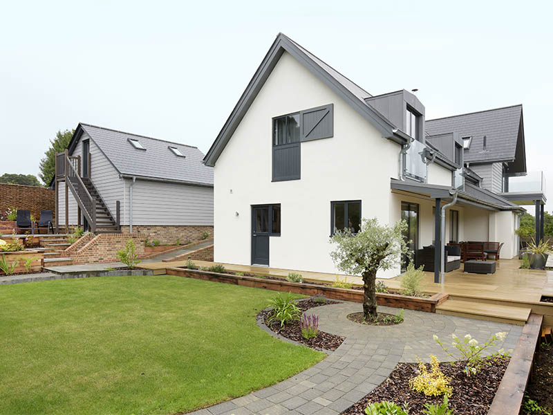 New build house and landscaped garden