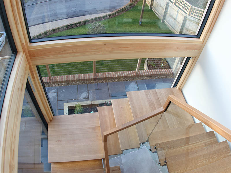 Woodbridge bespoke new build stairway from above
