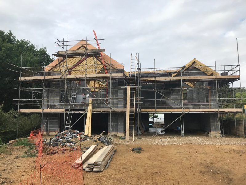 Building a new house with scaffolding