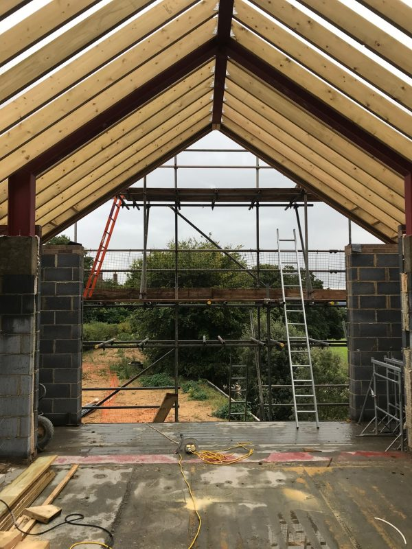Constructing the roof of a new house