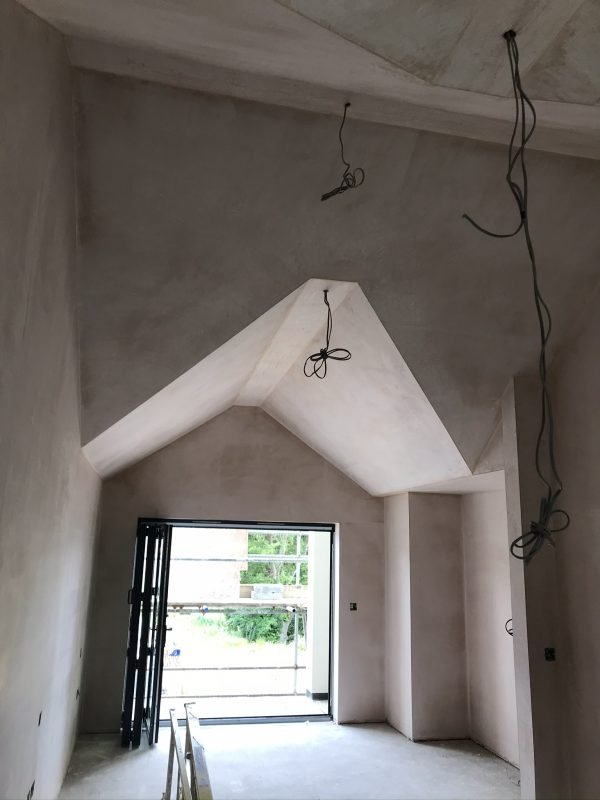 New plaster in a new house build