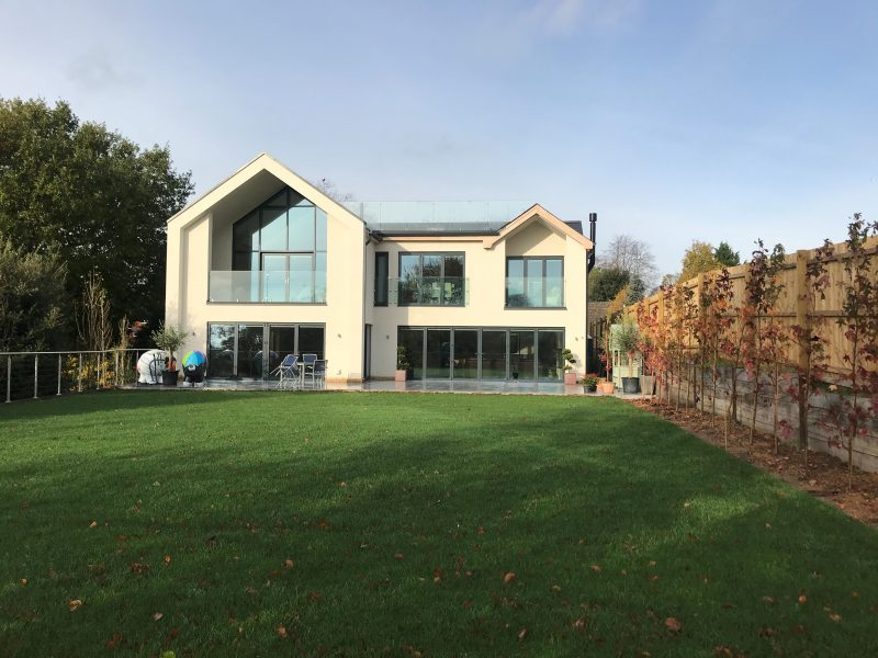 Detached new build house constructed of a steel frame & concrete plank